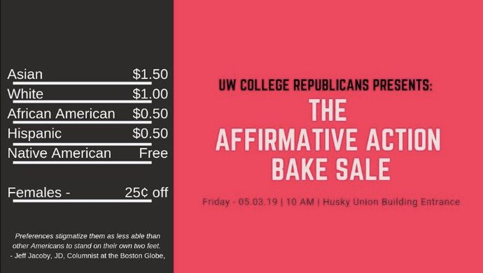 Funny: Group Held 'Affirmative Action Bake Sale' at Seattle's UW Campus Meme