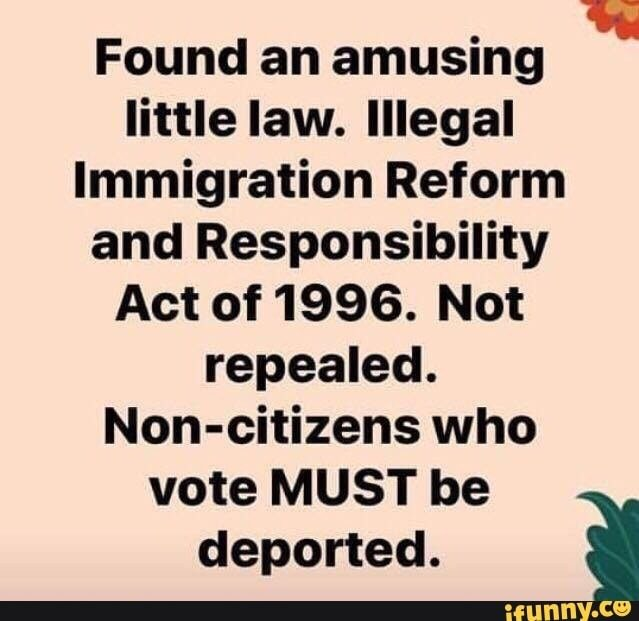 Found an amusing little law. Illegal Immigration Reform and Responsibility Act of 1996. Not repealed. Non-citizens who vote MUST be deported.