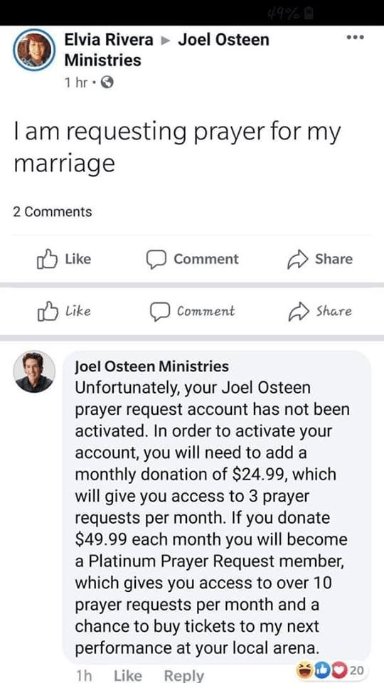 Did Joel Osteen Implement 'Prayer Request Accounts' for