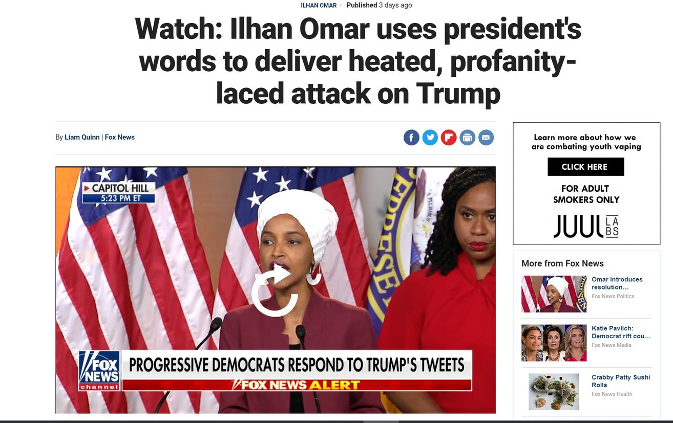 Did Fox News Report That U S  Rep  Omar Delivered a