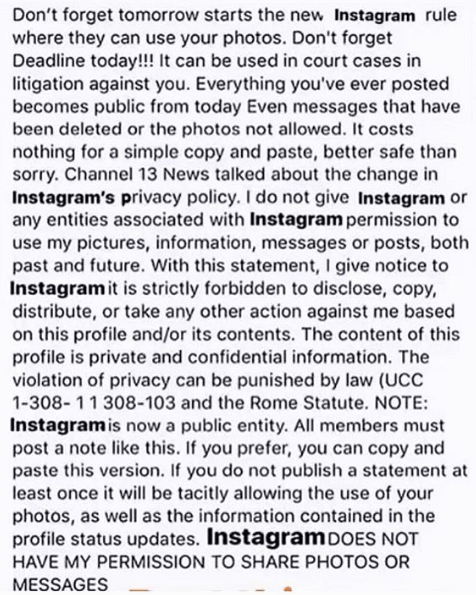 Don't forget tomorrow starts the new Instagram rule where they can use your photos. I do not give Instagram or any entities associated with Instagram permission to use my pictures, information, messages or posts, both past and future.