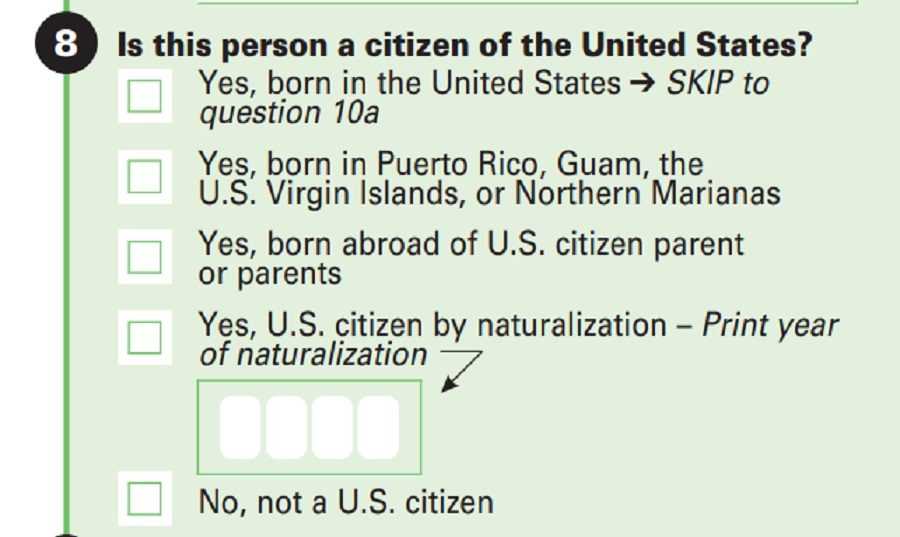 Does This Image Show A U S Census Form With Citizenship
