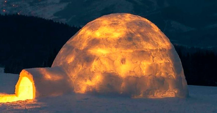 Is This What an Igloo Looks Like When You Build a Fire Inside?