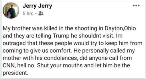 Did the Brother of a Dayton Mass Shooting Victim Post a Pro-Trump