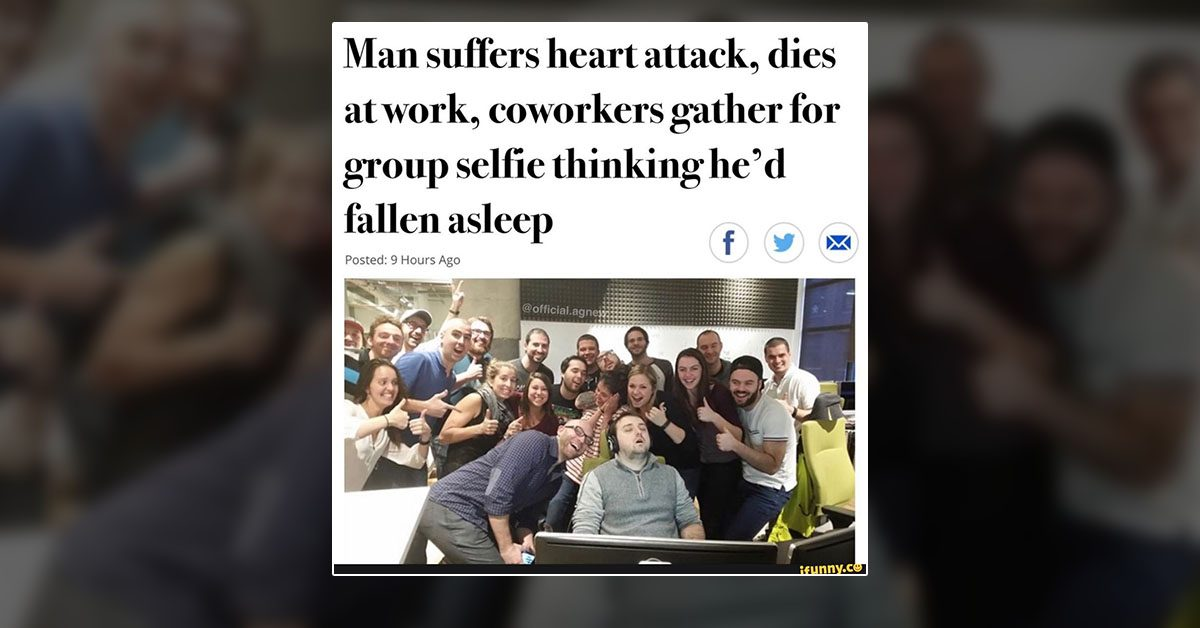 Did These People Take a Selfie With Co-Worker Who Died of a Heart Attack?