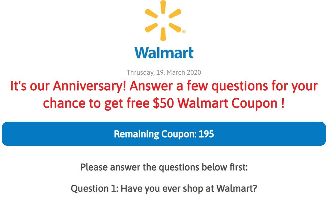 No Walmart Is Not Offering A Free 50 Anniversary Coupon On Facebook