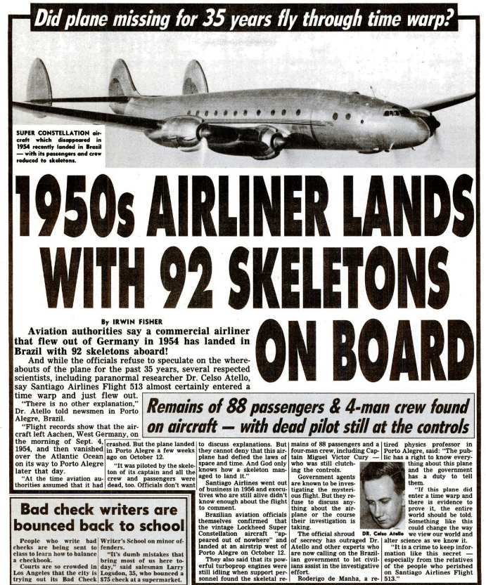 Did Santiago Flight 513 Disappear In 1954 Only To Land In 1989