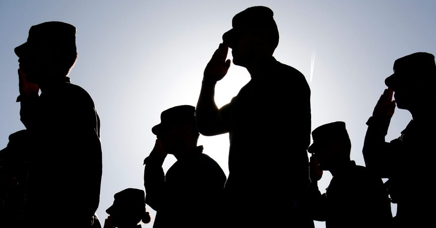 Soldiers Salute the Flag at Sunset
