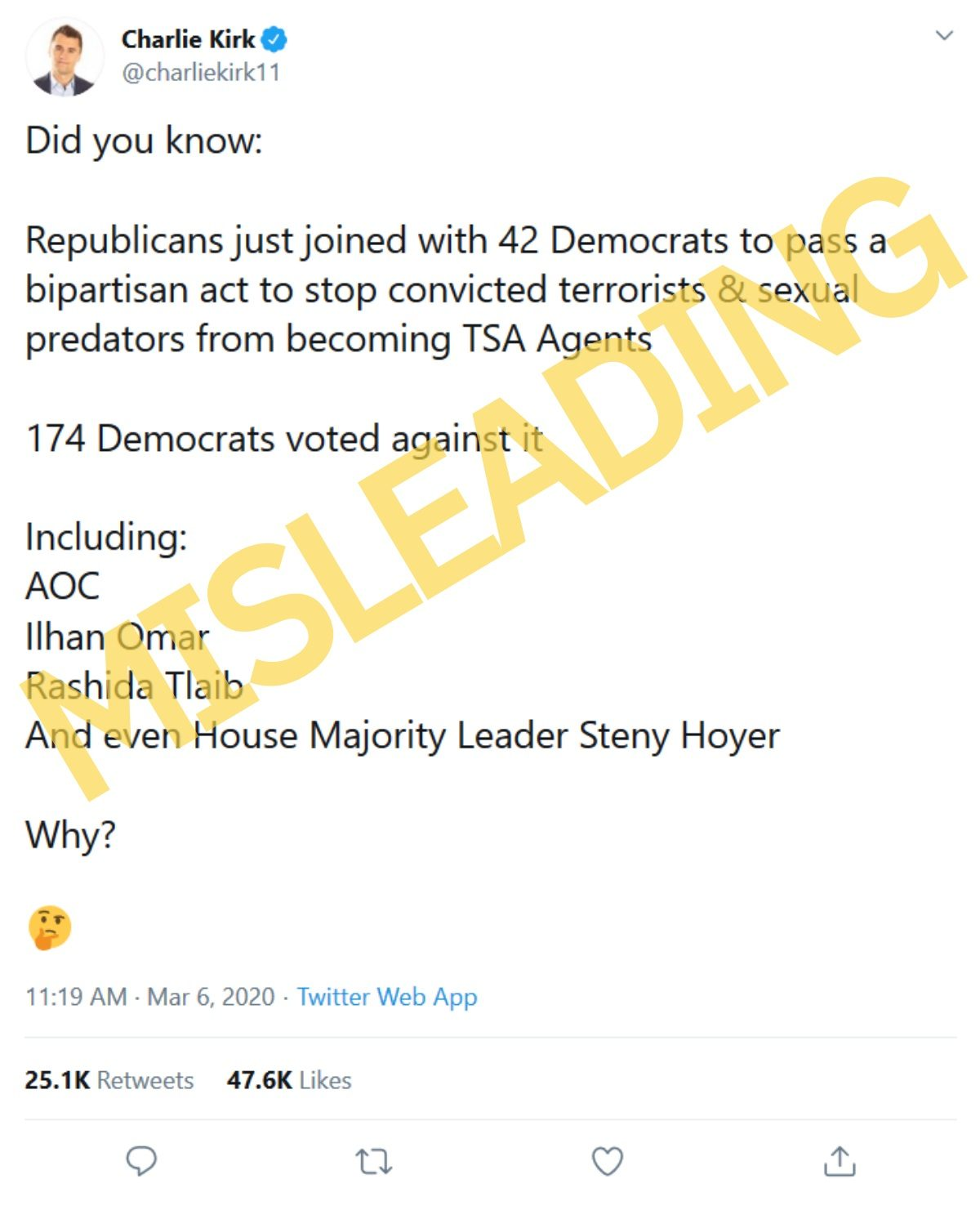 174 Democrats voted against