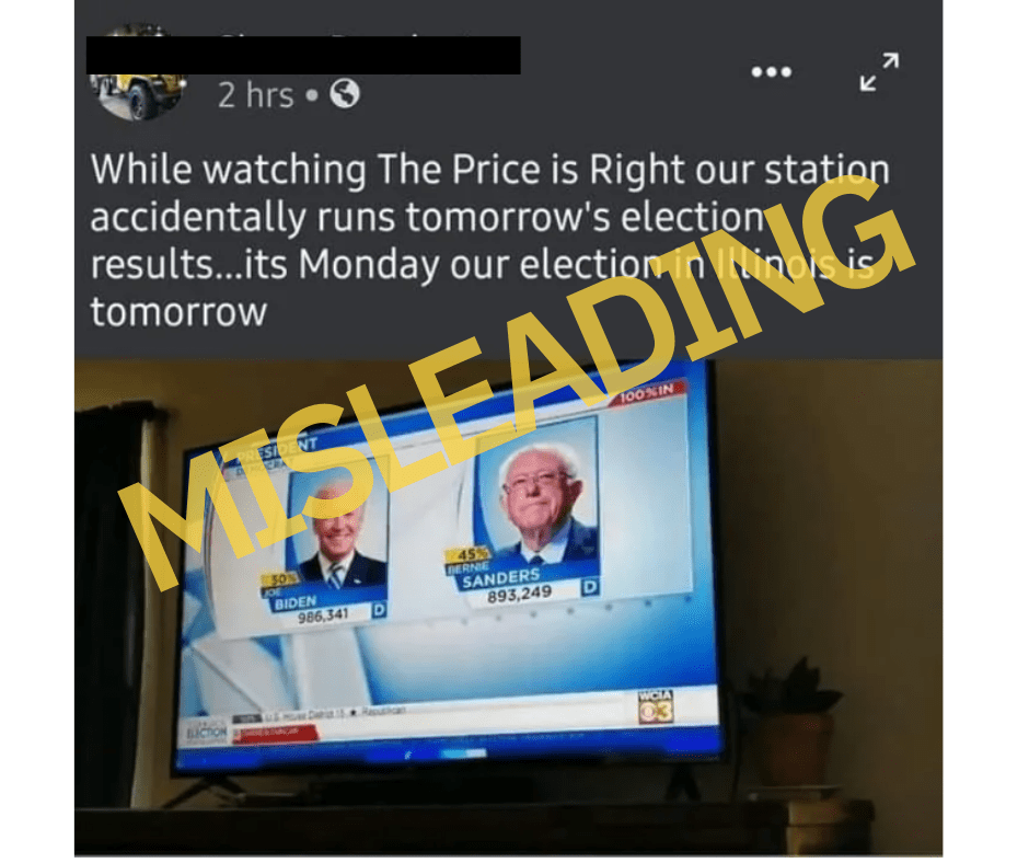 tv station displays election results before election