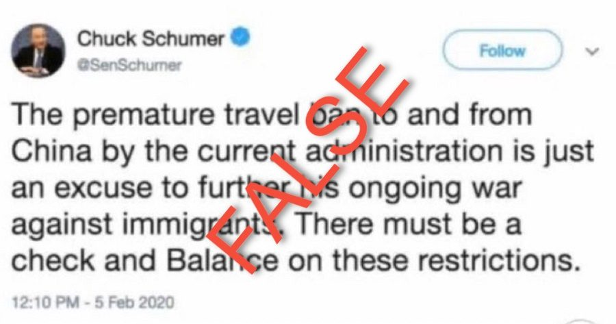 Did Schumer Delete a Tweet Criticizing Trump for Banning Air Travel from China 'Prematurely'? - snopes