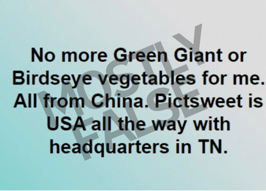green giant vegetables from china