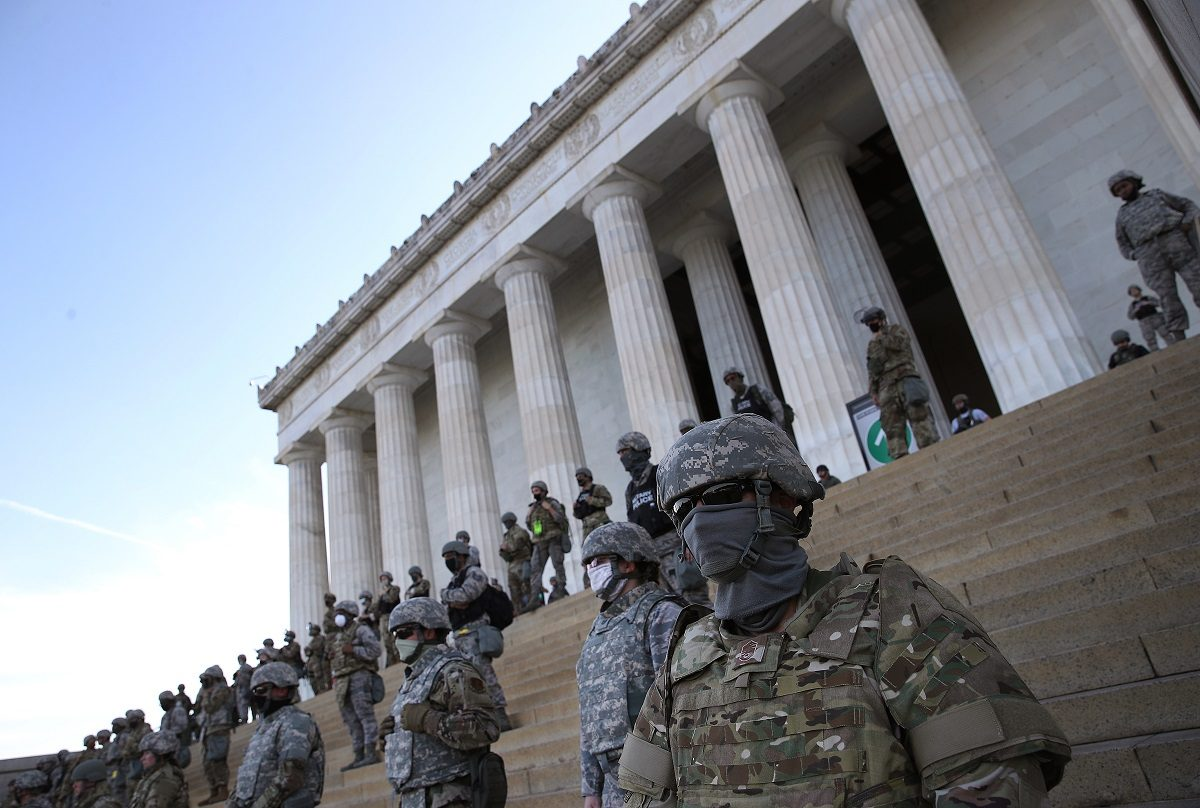 Are These Troops Guarding The Lincoln Memorial