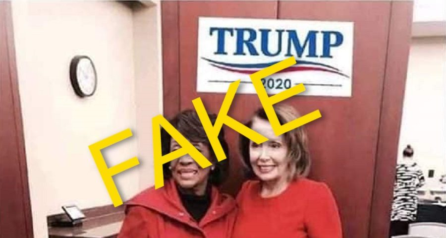 Did Reps. Pelosi and Waters Pose with 'Trump 2020' Sign?
