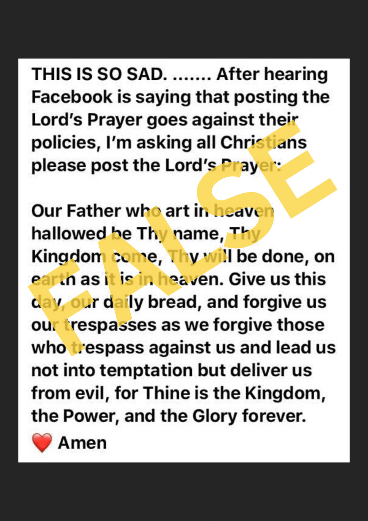 Does Facebook Prohibit Posting of the Lord's Prayer?