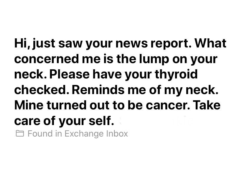 TV reporter diagnosed with cancer after viewer notices lump on her neck