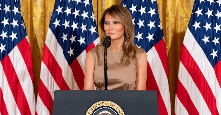 First lady Melania Trump wore an Alexander McQueen dress to a Fourth of July event.