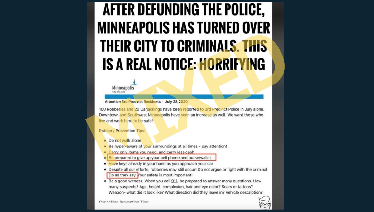 Did Minneapolis Police Tell Residents to 'Cooperate' With Robbers After City Defunded Cops? - snopes