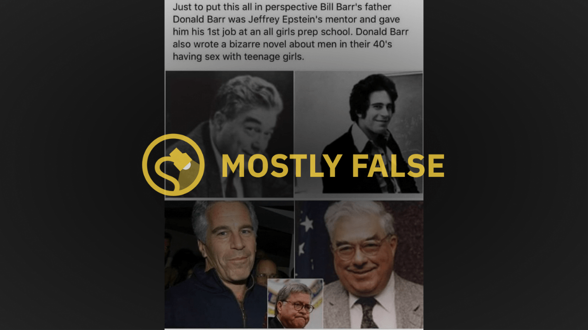 Did Bill Barr's Father 'Mentor' Jeffrey Epstein and Write a 'Bizarre' Novel? - snopes