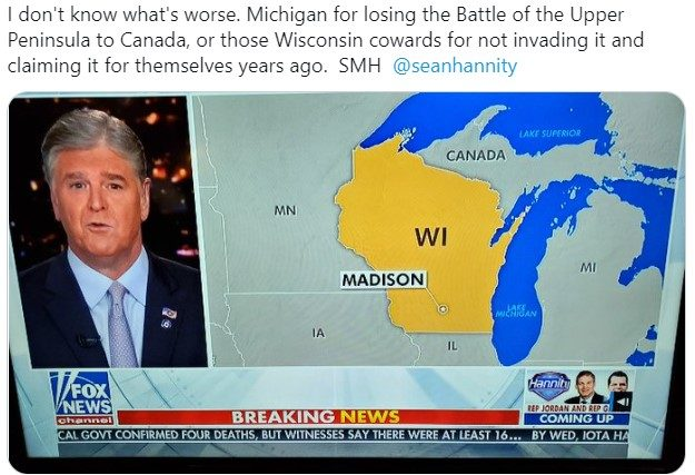 Map Of Canada Above Michigan Did Fox News Map Mislabel Michigan as Canada?