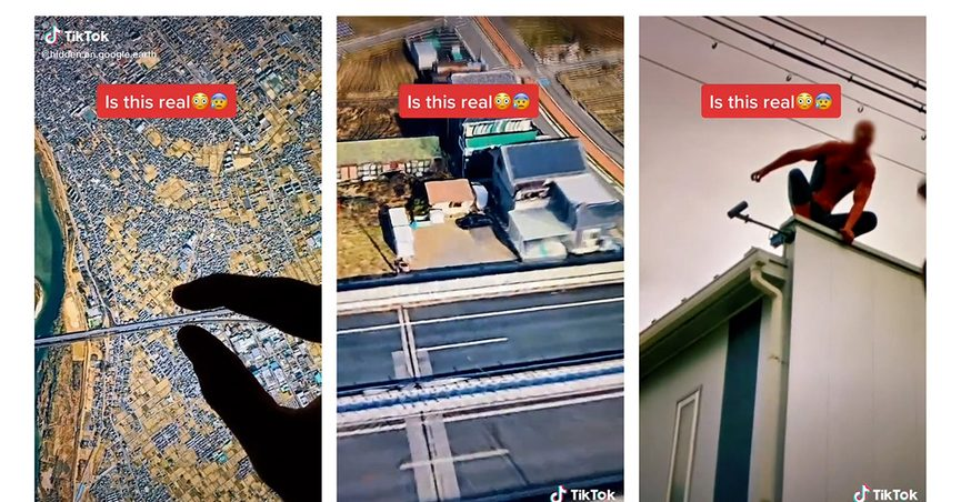 Spiderman Spider-Man rooftop tiktok google maps earth street view is this real