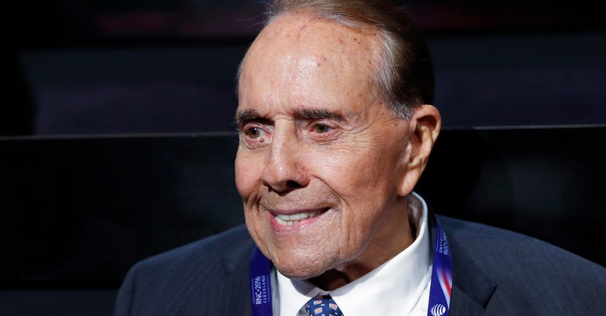FILE - In this July 18, 2016 file photo, political icon and 1996 Republican presidential nominee Sen. Bob Dole is seen at the Republican National Convention in Cleveland. Dole says he has been diagnosed with stage 4 lung cancer. The 97-year-old former U.S. Senate majority leader said Thursday in a short statement that he would begin treatment for the disease Monday. (AP Photo/Carolyn Kaster)
