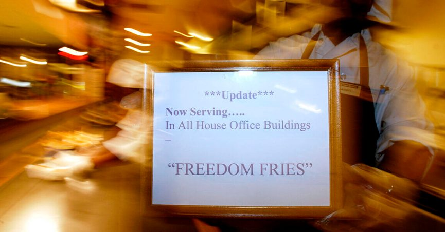 """sign showing """"now serving freedom fries"""""""