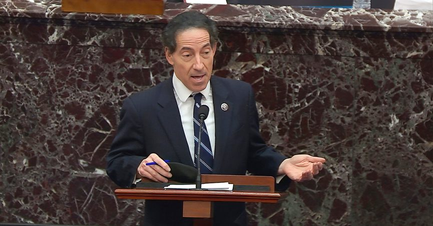In this image from video, House impeachment manager Rep. Jamie Raskin, D-Md., speaks about the motion to call witnesses during the second impeachment trial of former President Donald Trump in the Senate at the U.S. Capitol in Washington, Saturday, Feb. 13, 2021. (Senate Television via AP)