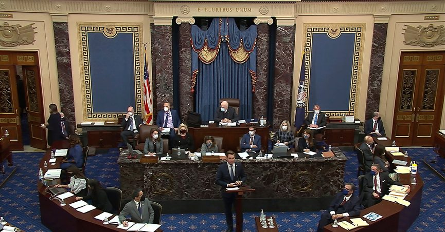 In this image from video, House impeachment manager Rep. Eric Swalwell, D-Calif., speaks during the second impeachment trial of former President Donald Trump in the Senate at the U.S. Capitol in Washington, Wednesday, Feb. 10, 2021. (Senate Television via AP)