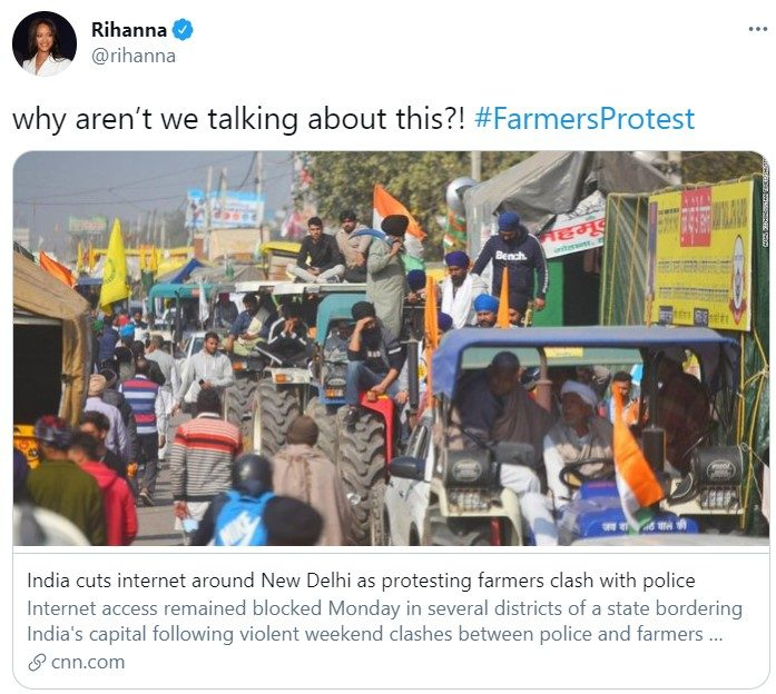 Rihanna's Tweet About Indian Farmers' Protest Sparks Social Media Uproar, Kangana Calls Her 'Fool'
