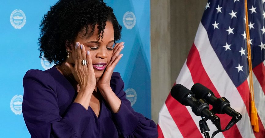 Former Boston City Council President Kim Janey, 55, composes herself as she begins to speak after being sworn in as Boston's new mayor at City Hall, Wednesday, March 24, 2021, in Boston. Janey, who is the city's first female and first person of color to take the office, replaces Marty Walsh who resigned Monday evening to become President Joe Biden's labor secretary. (AP Photo/Elise Amendola)