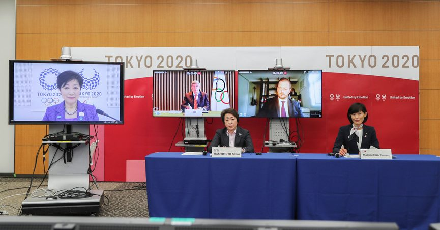 This photo shows the opening remark session of a five-party meeting held by the Tokyo Organizing Committee of the Olympic and Paralympic Games (Tokyo 2020) at the Tokyo 2020 headquarters in Tokyo on Wednesday, March 3, 2021. From left are, Tokyo Gov. Yuriko Koike, Thomas Bach, back center, president of the International Olympic Committee (IOC), Andrew Parsons, president of the International Paralympic Committee, Seiko Hashimoto, front row, left, president of the Tokyo 2020 Organizing Committee, and Tamayo Marukawa, minister for the Tokyo Olympic and Paralympic Games. (Du Xiaoyi/Pool Photo via AP)