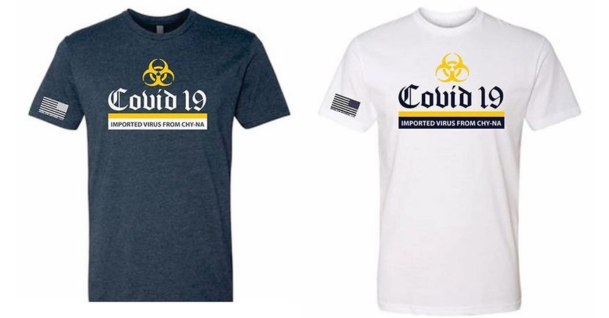"""Capt. Jay Baker purportedly acquired COVID-19-themed shirts that said """"Imported Virus from Chy-na."""""""