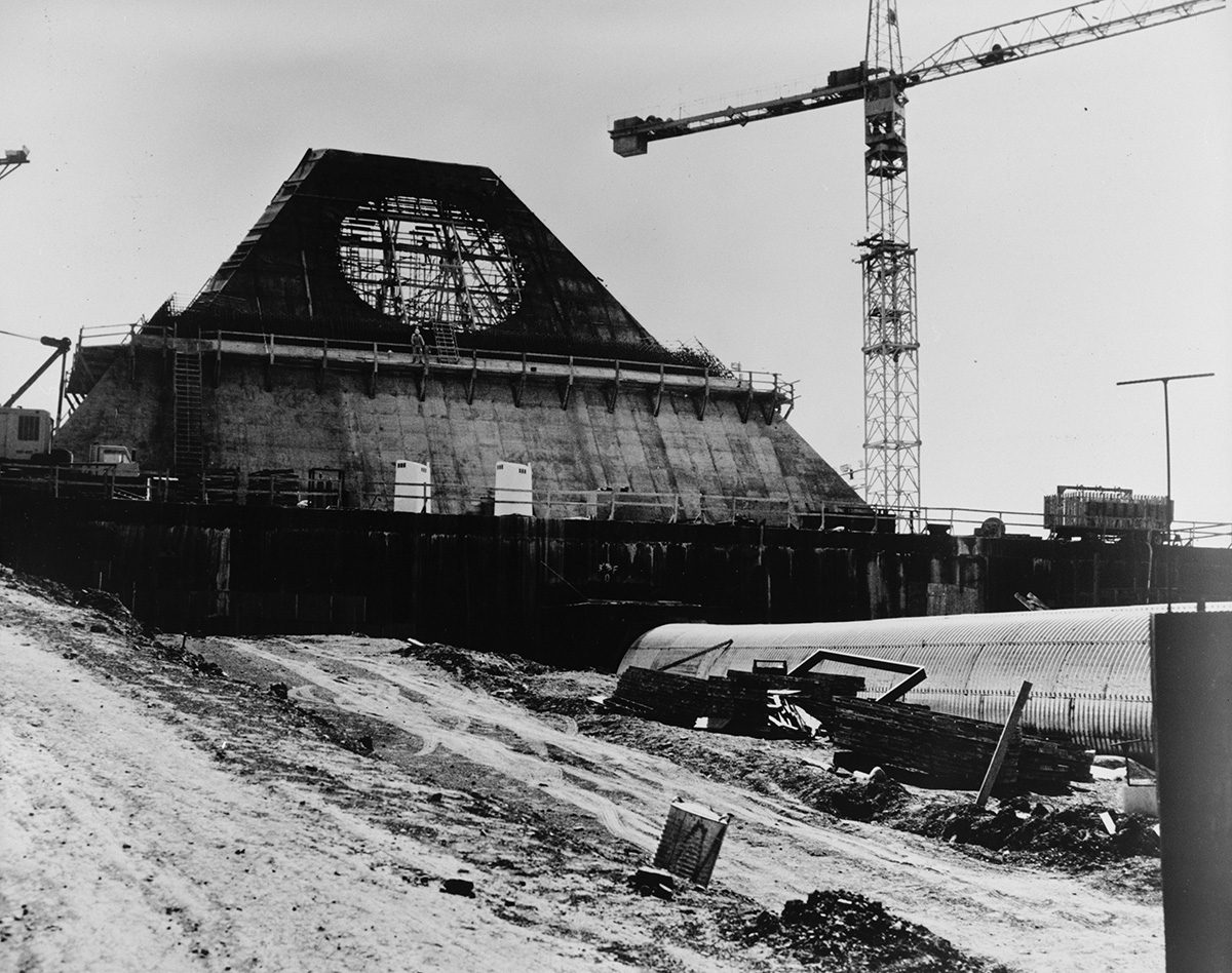 The Stanley R. Mickelsen Safeguard Complex began construction on the pyramid building in 1970.