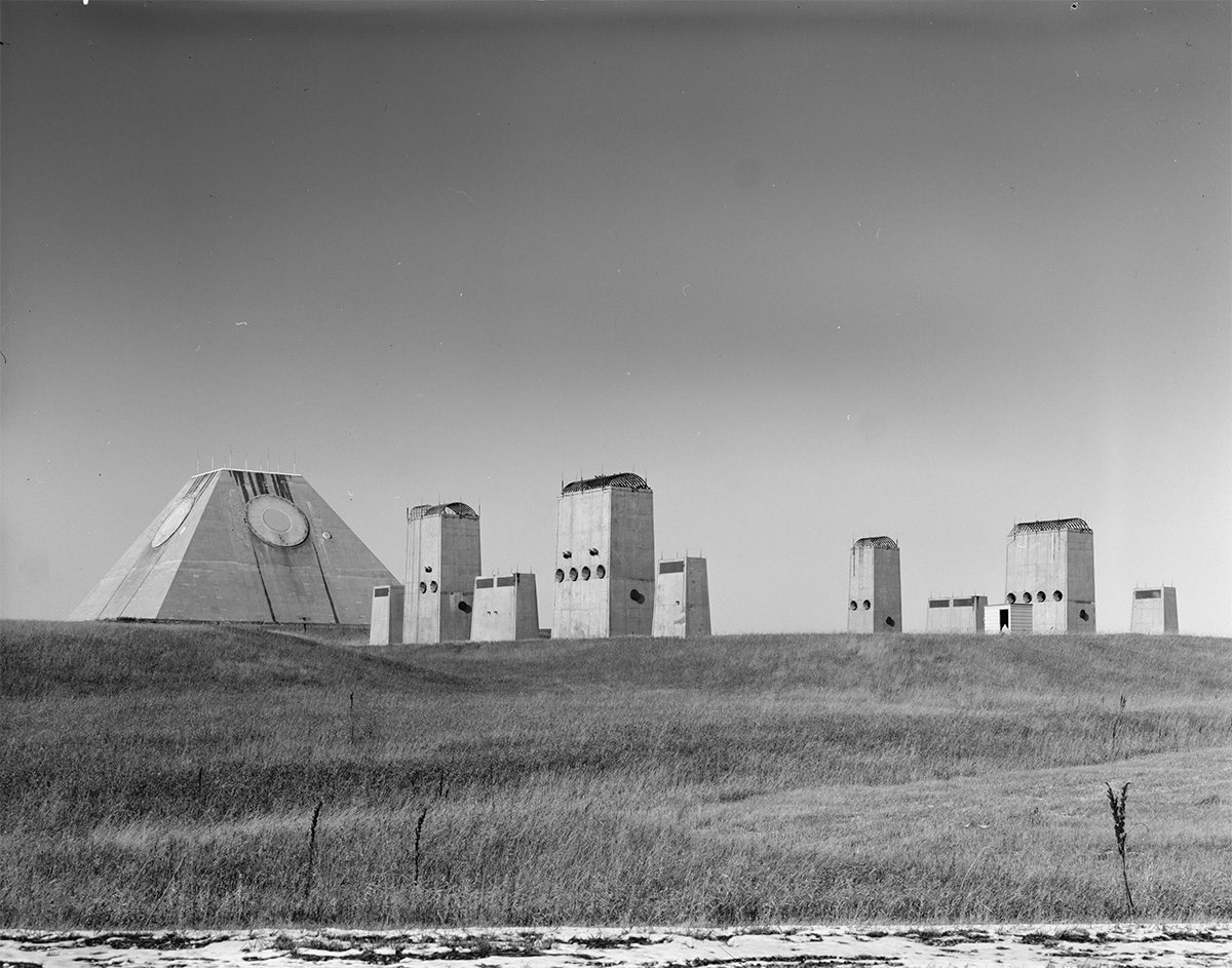 The Mickelsen Safeguard Complex had a radar system in the shape of a pyramid, plus air intake buildings.