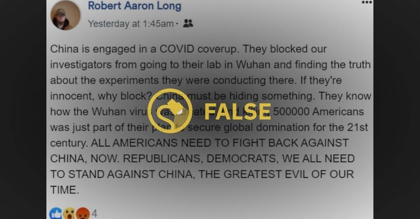 """The alleged gunman who killed eight people in Atlanta, Georgia posted on Facebook about China engaging in a """"COVID coverup."""""""