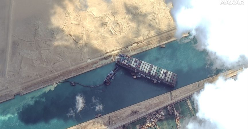 Aerial view of Evergreen Ever Given ship stuck in Suez Canal