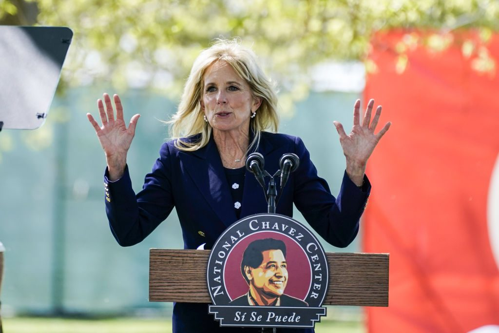 Did Jill Biden Give a Speech in Front of a Nazi-Inspired Flag?