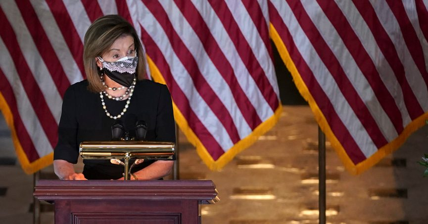 House Speaker Nancy Pelosi of Calif., speaks during a Celebration of Life for Rep. Alcee Hastings, D-Fla., in Statuary Hall on Capitol Hill in Washington, Wednesday, April 21, 2021. Hastings died earlier this month, aged 84, following a battle with pancreatic cancer. (Stefani Reynolds/Pool via AP)