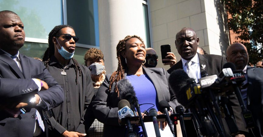 Attorney Chantel Cherry-Lassiter speaks outside the Pasquotank County Public Safety building in Elizabeth City, N.C. Monday April 26, 2021 after viewing 20 seconds of police body camera video. The family of Andrew Brown Jr. and their attorneys were shown the video 5 days after Brown was fatally shot by Pasquotank County Sheriff' deputies. (Travis Long/The News & Observer via AP)