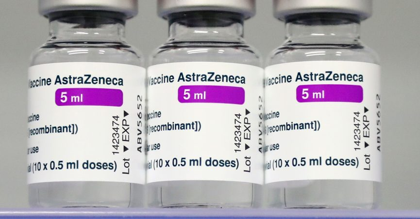 FILE - In this file photo dated Monday, March 22, 2021, vials of the AstraZeneca COVID-19 vaccine in a fridge at the local vaccine center in Ebersberg near Munich, Germany. German officials have decided to limit the use of AstraZeneca's coronavirus vaccine in people under 60 after more unusual blood clots were reported in a small number of people who received the shots. Earlier this month, more than a dozen countries, including Germany, suspended their use of AstraZeneca over the blood clot issue. (AP Photo/Matthias Schrader, File)