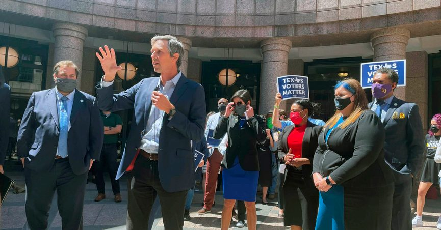 Former Democratic congressman Beto O'Rourke speaks against new proposed voting restrictions at the Texas Capitol on Thursday, March 25, 2021, in Austin, Texas. (AP Photo/Acacia Coronado)