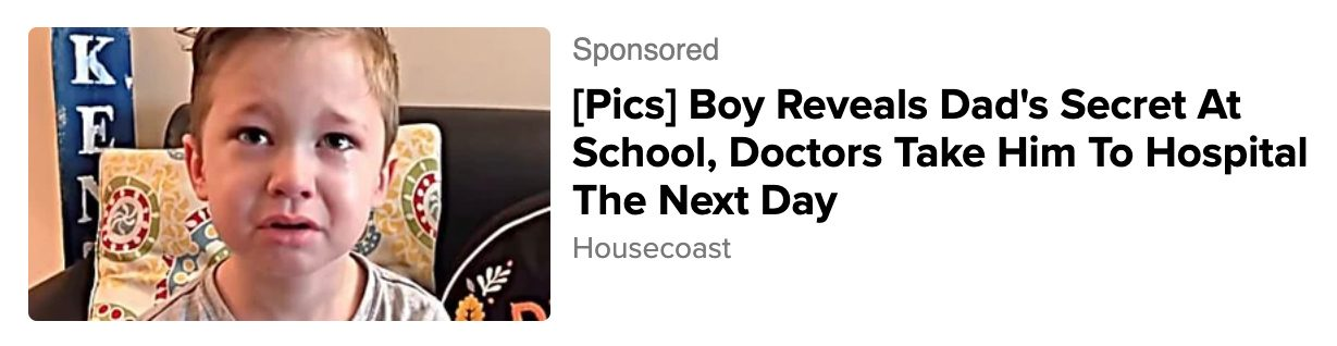 A boy did not reveal his dads secret at school nor did doctors take him to hospital the next day.