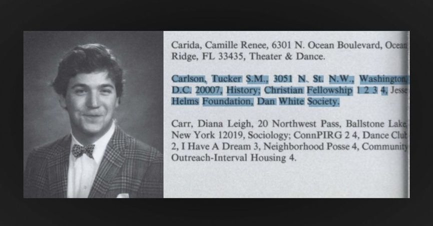 """Tucker Carlson was listed as a member of the """"Dan White Society"""" in his college yearbook."""