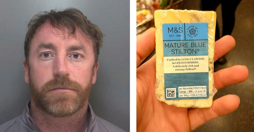 Two images released Thursday May 27, 2021, by Merseyside Police showing a photo of Carl Stewart, left, and the photo he posted of himself holding a block of cheese that was used by police to identify Stewart who has been jailed Friday May 23, 2021, for 13 years and six months on various drugs charges. Carl Stewart, 39, posted online a photo of himself holding a block of mature blue cheese and police in Europe cracked the encrypted network as part of Operation Venetic, and officers were able to analyse his fingerprints from the photo to identify him. (Carl Stewart/Merseyside Police via AP)