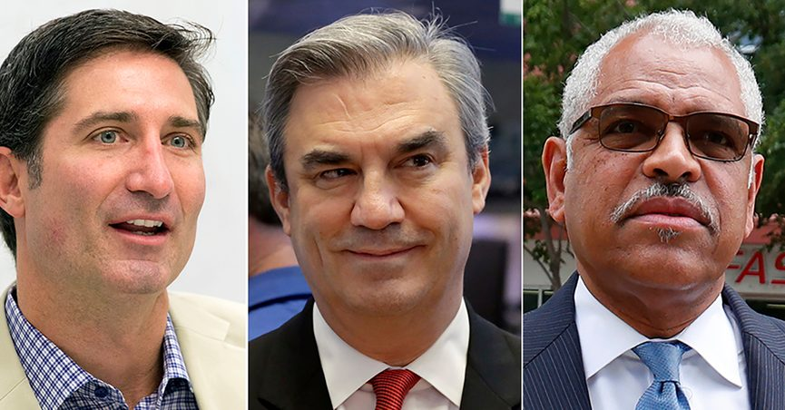 FILE- This photo combo shows from left, Brian Niccol, CEO of Chipotle, Advance Auto Parts CEO Tom Greco, Carnival Corp. CEO Arnold Donald. Pay packages rose yet again in 2020 for the CEOs of the biggest U.S. companies, even though the pandemic sent the economy to its worst quarter on record and slashed corporate profits around the world. (AP Photo/File)