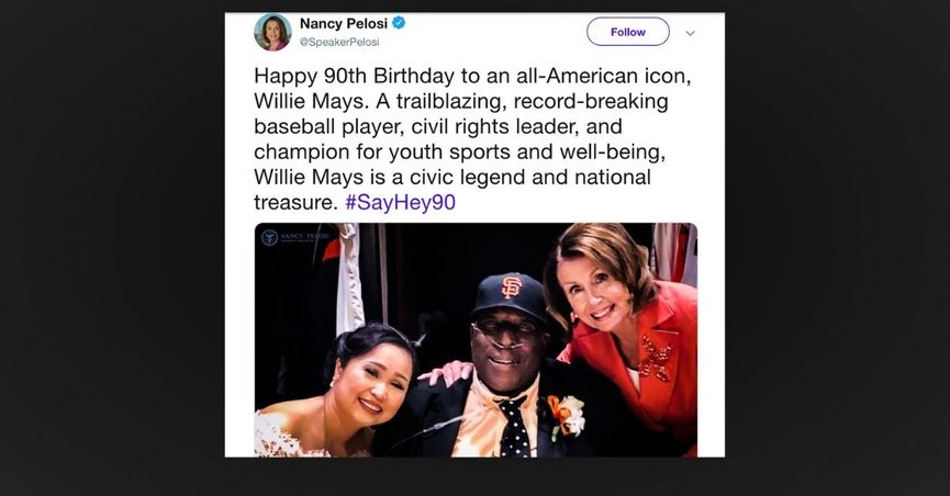 Pelosi tweet Willy Mays Willie McCovey