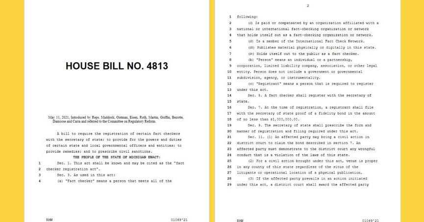 HB 4813 Michigan Republican wants to register fact-checkers