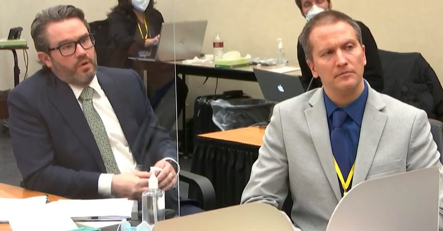 FILE - In this April 19, 2021, file image from video, defense attorney Eric Nelson, left, and defendant, former Minneapolis police officer Derek Chauvin, speak to Hennepin County Judge PeterCahill after the judge has put the trial into the hands of the jury' in the trial of Chauvin, in the May 25, 2020, death of George Floyd at the Hennepin County Courthouse in Minneapolis, Minn. In a ruling May 12, 2021, Judge Cahill finds aggravating factors in death of George Floyd, paving way for tougher sentence for Chauvin.(Court TV via AP, Pool File)