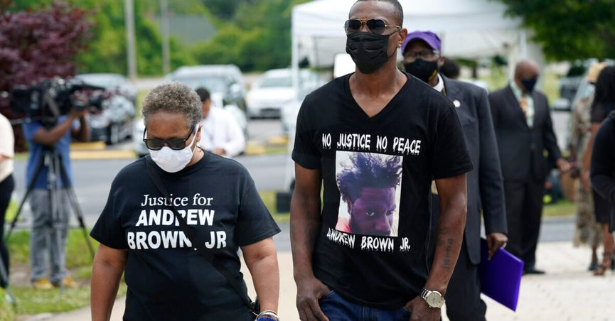 People arrive for the funeral for Andrew Brown Jr., Monday, May 3, 2021 at Fountain of Life Church in Elizabeth City, N.C. Brown was fatally shot by Pasquotank County Sheriff deputies trying to serve a search warrant. (AP Photo/Gerry Broome)